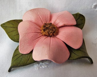 Leather Brooch Pink Wild Rose by Hinterland
