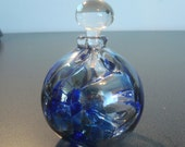 Signed Blue Art Glass Perfume Bottle
