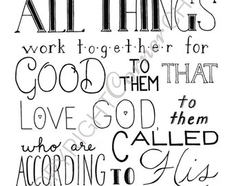 Romans 8:28 Embroidery Pattern, PDF Embroidery Pattern, Bible Verse Embroidery, Romans Embroidery PDF, Embroidery Pattern, Hand Embroidery