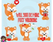 2016 My Foxy Valentine  Clip art  Clipart Graphics  Commercial Use