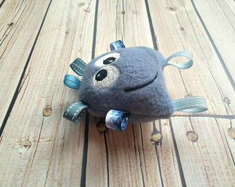 Baby Blue Rattle Plushie - Blue Monster Tag Toy - Stuffed Sensory Toy