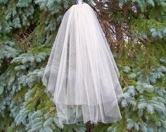 Short Shoulder Length Wedding Veil Made to Order Blusher 2 Tier Cut Edge