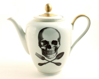 Pirate Altered Cook Skull Teapot Vintage Porcelain Spoon Fork Utensils  Halloween Decor Vintage Pirate Golden Rim White Fun Funny Human