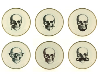 """6 Set Vintage Altered  Plates 7.5"""" Porcelain Skull Glasses Mustache Beard Monocle Wedding Gift Wall Decoration Grotesque Steampunk Halloween"""