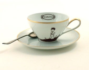 Altered The Little Prince Quote Cup Saucer Porcelain Only With the Heart Planet Flower Gold Rim Antoine de Saint-Exupéry Sugar White Brown