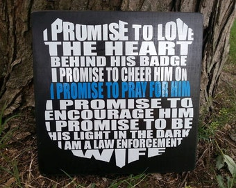 """12 x 12 inch """"Law Wife"""" Wooden Sign"""