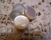"Antique 9/16"" White MOP Genuine Pearl Shell Buttons Shank Style, Set of 4 (1676)"