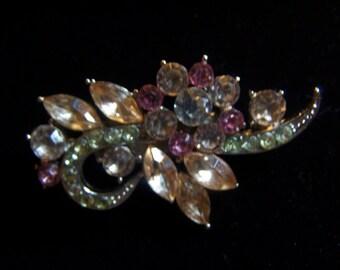 "Pretty Vintage Pink & Silver Rhinestone Brooch Pin 2"" Repurposed"