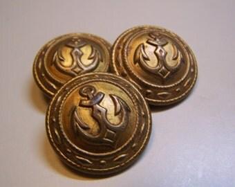 "Vintage 7/8"" Anchor Uniform Brass Tone Metal Buttons, Set of 3"