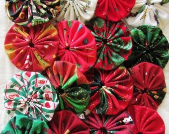 Yo yos 30 2  inch assorted  shades of   Christmas  Fabric YO YOS