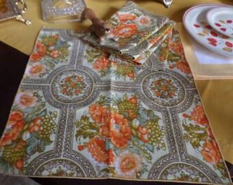 "5-Gorgeous Orange/Tangerine/Yellow/Brown/Green Cotton/Linen/Fabric Flowers & Fruits Design Table Napkins-14""x14"""
