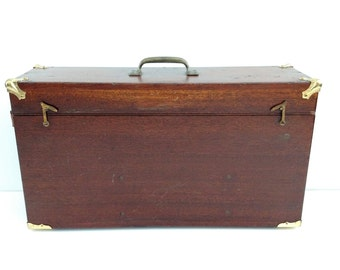 Vintage Wooden Box with Brass Corners
