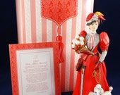 Victorian Lady in Red with Poodle, Avon Mrs. Albee Award, Avon President's Club Figurine