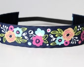 "Modern Floral Print No Slip Headband 1.5"", Fitness Apparel, Running Headband, Workout Headband, Yoga Accessory, Gift for Runners, Under 10"