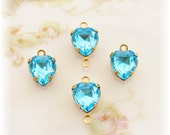 Swarovski Aquamarine Rhinestone Heart Drops Connectors in 1 or 2 Ring Brass Prong Settings - 4