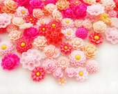 Shades of Rose PINK Resin Flower Cabochon Rose Cameo Mix Destash Assortment - 20