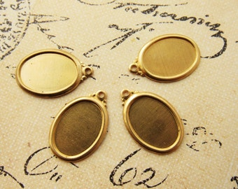 Vintage Style Raw Brass 14x10mm Oval Frame Settings Cabochon Cameo 1 Ring Drop Charm - 4