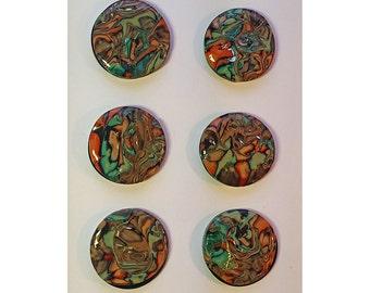 Polymer Clay Pendant Freeform Round Design Choice of 6 Styles Caladium Bead Series