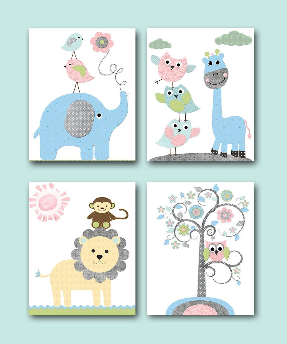 Baby girl baby boy nursery decoration elephant giraffe decor for Baby room decor za