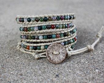 VEGAN beaded hemp wrap bracelet leather fancy jasper multi colored bracelet coconut shell button