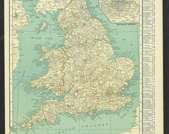 Vintage Map England Original 1921