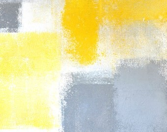 Dropped, 2015 - Original Acrylic Artwork Modern Contemporary Abstract Painting Wall Decor Free Shipping Grey Yellow White 7 x 10 Paper