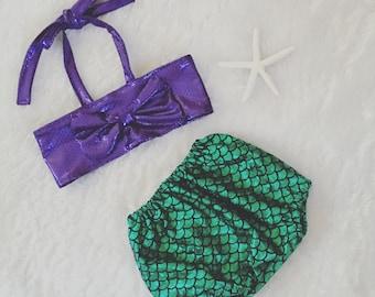 Little Mermaid, Ariel inspired, swim suit, sun suit, two piece,  nb, size 3, 6, 9, 12, 24 months, 2T, 3T, 4T