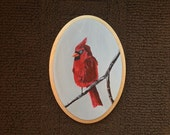 CARDINAL original one of a kind acrylic painting on oval wooden canvas panel