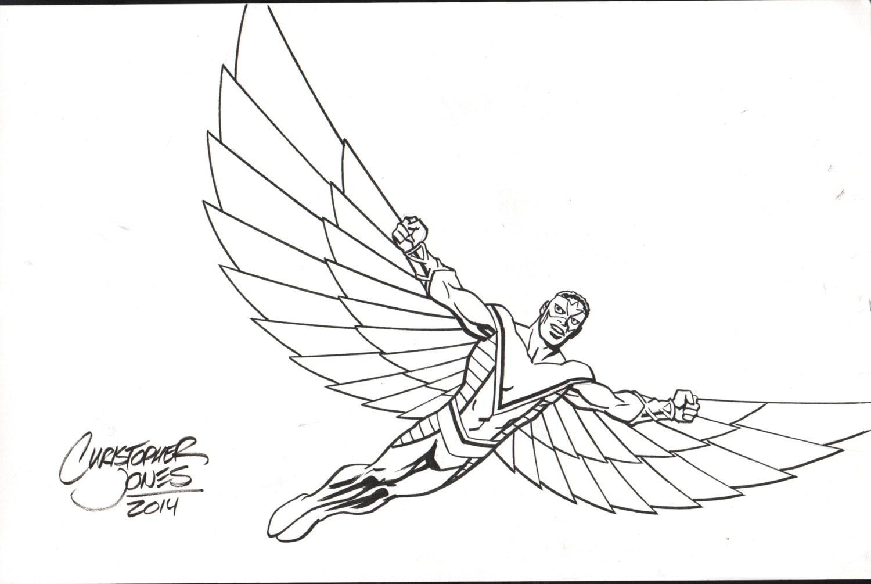Line Art Etsy : Falcon original avengers line art by chrisjonesart on etsy