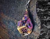 "Bismuth Necklace - ""Dripping Corners"" Bismuth Geode Bismuth Jewelry by Element83 - Element 83 - Iridescent Crystal Necklace"