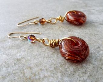 Brass Swarovski and Artisan Lampwork Glass Donut Earrings 14K Gold Filled Ear Wires Chocolate drops