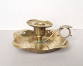 Vintage Collectible Brass Candle Holder, Brass Chamberstick, Decorative Brass Holder, Display Piece, Candlestick, Square base with cut out
