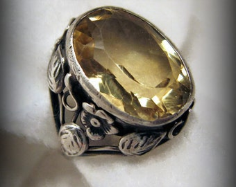 Vintage ART NOUVEAU ROSE Ring -- Pale Golden Citrine in Sterling Silver, Beautifully Detailed, Size 5