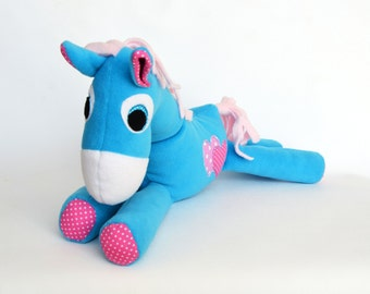 Stuffed Animal Soft Big Blue Horse Sweet and soft chidren toy for baby