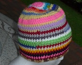 Scrap homeless  Striped Beanie Hat, style multi colors and textures One of a kind