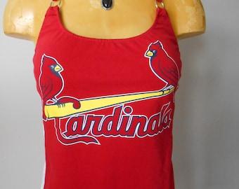 St. Louis Cardinals halter top top MLB Baseball DIY Reconstructed