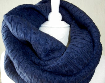 LIX PERLE:  Navy Flo Cable Sweater Knit Infinity Scarf, Circular loop tube versatile hood shawl unisex handmade scarf
