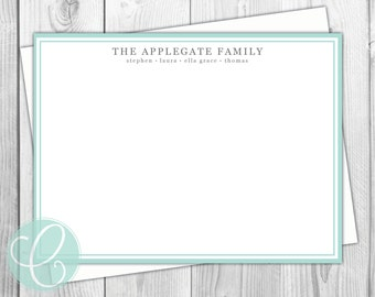 Simplicity Stationery Flat Note Cards - Set of 12 - Family - Modern - Minimalist - Kids - Names - Simple