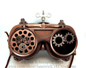 Steampunk Goggles with Gears.   Airship Captain, Steampunk Accessory, Cosplay, Steampunk costume, Mad Scientist, Larp, Goggles, Gears, Key