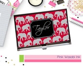 Elephant Business Card Holder Personalized Business Card Holder Monogram Card Case Custom Card Case Choose Colors