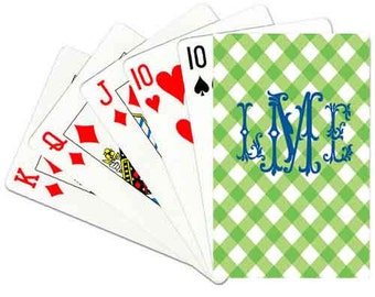 Personalized Playing Cards Monogrammed Deck of Cards Custom Gingham Card Deck Choose Colors
