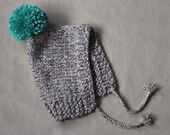 SALE knitted pixie hat, baby or kid, wool and acrylic yarn