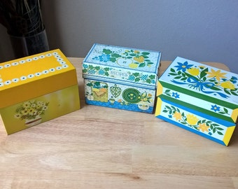 3 Tin Recipe Boxes