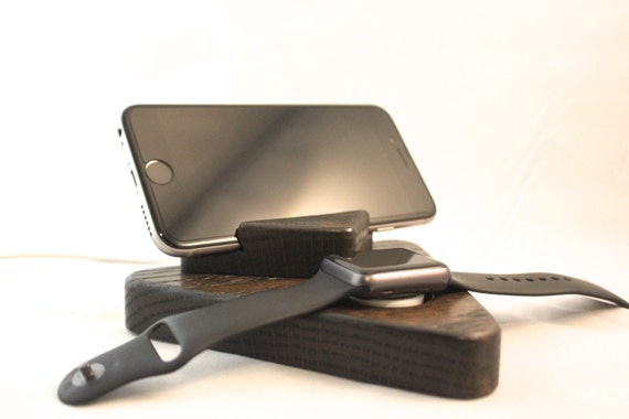 iPhone and Apple Watch Stand / Charging Dock / Charging Station - Ebony Finish on Oak