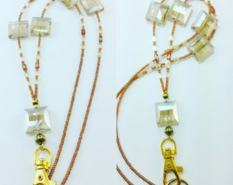 Faceted Yellow Amber Glass Crystals Beaded Lanyard ID holder LQ Expressions