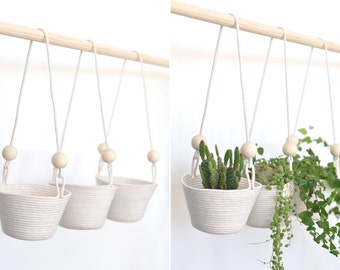 Hanging planter, set of three, hanging baskets, coiled rope baskets, wall planter, kitchen storage, natural materials
