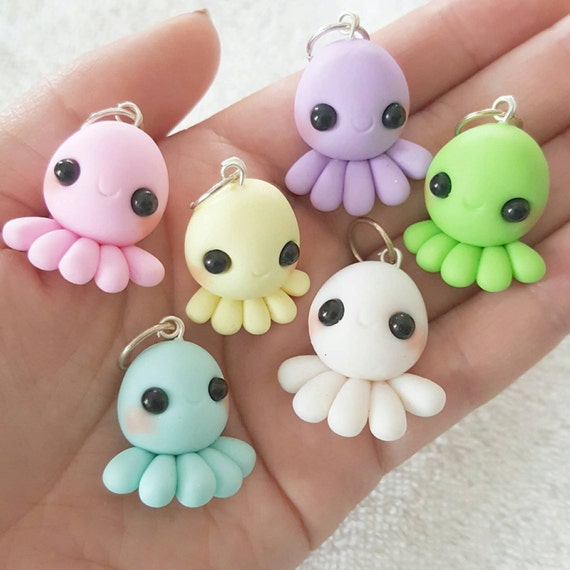 Kawaii Octopus, Pastel Octopus Polymer Clay Charm, DS Charms, Miniature, Polymer Clay Pendant, Pastel, pendant, Kawaii, Chibi, Clay Charm