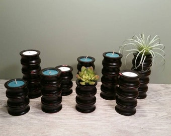 Nine Rustic Painted Wooden Candle Holders