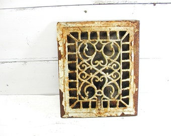 Antique Grate Ornate White Register Chippy Architectural Salvage Old Ornate