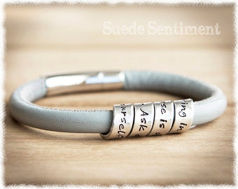 Womens Personalized Bracelet • Womens Graduation Gift • Long Distance Friendship • Mothers Day Gift • Hand Stamped Jewelry